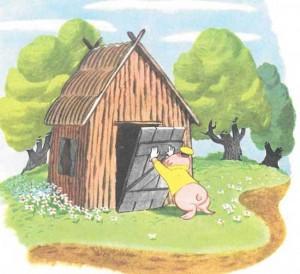 Los tres cerditos - casa de madera